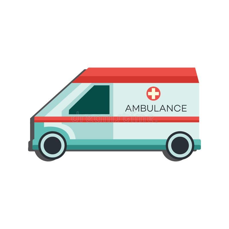Icône de voiture de secours médical - vue de côté de transport d'ambulance d'isolement sur le fond blanc illustration stock