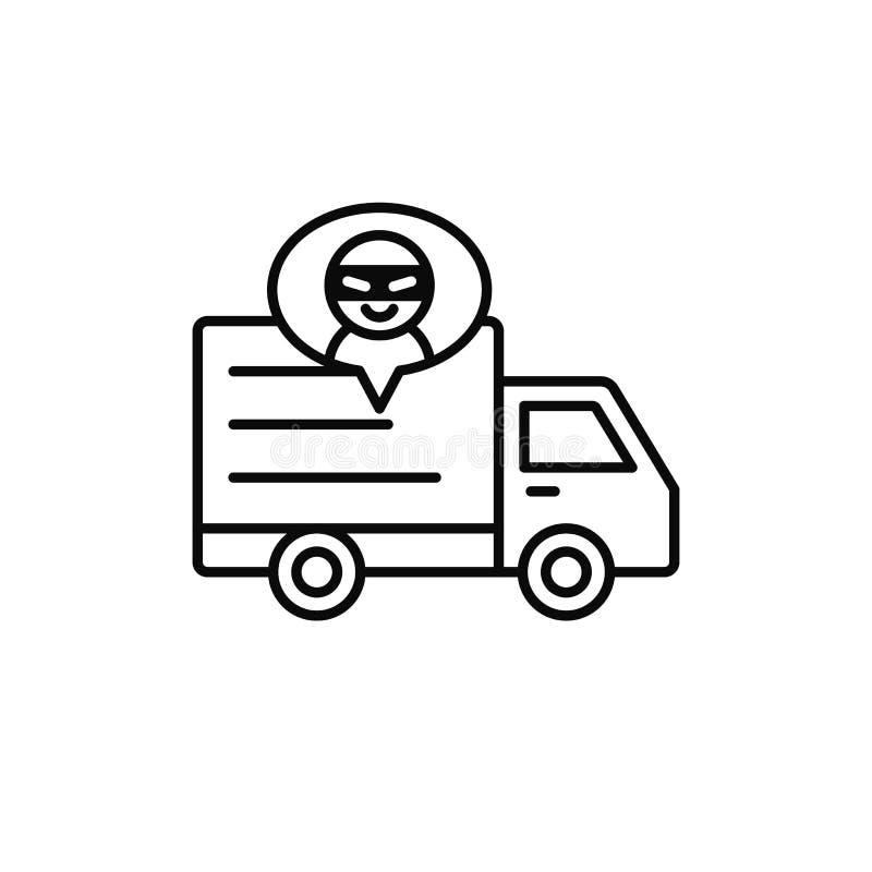 Icône de voleur de camion de livraison article d'expédition revêtu d'une robe par l'illustration criminelle conception simple de  illustration stock