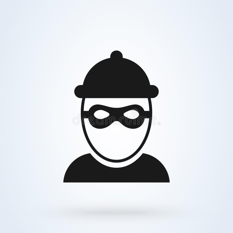 Icône de voleur et masque de bandit homme criminel Illustration de vecteur illustration libre de droits