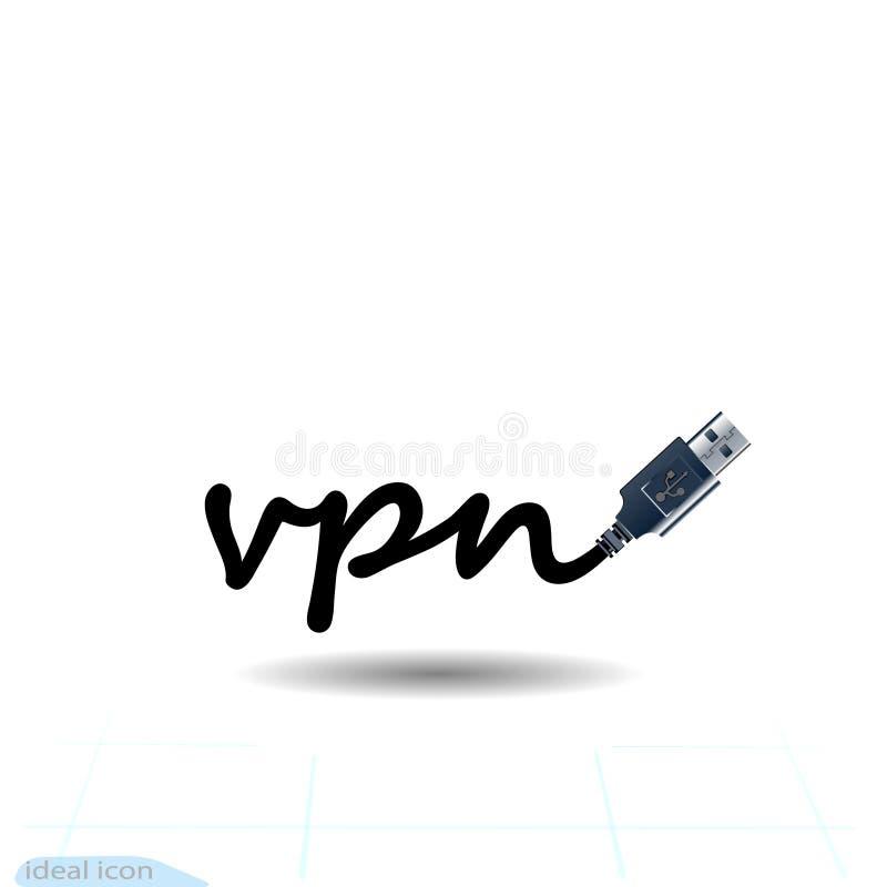 Icône de VPN Protégez, concept de sécurité Sauvez l'emblème USB de signe de wifi de sécurité d'Internet Caractère moderne plat IC illustration de vecteur