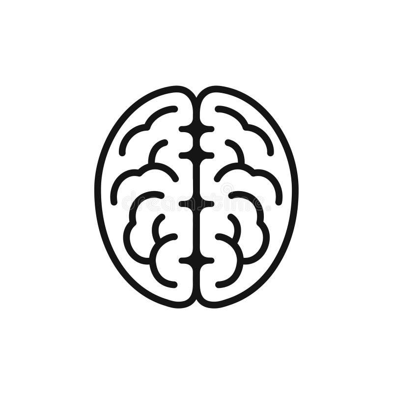Icône de vue de côté de cerveau, symbole d'intellect, ligne simple illustration de vecteur de style illustration libre de droits