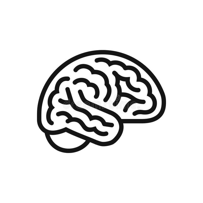 Icône de vue de côté de cerveau, symbole d'intellect, ligne style simple illustration libre de droits