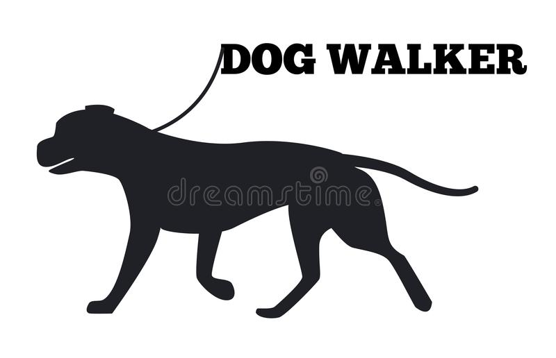 Icône de Walker Logo Design Canine Animal Black de chien illustration stock