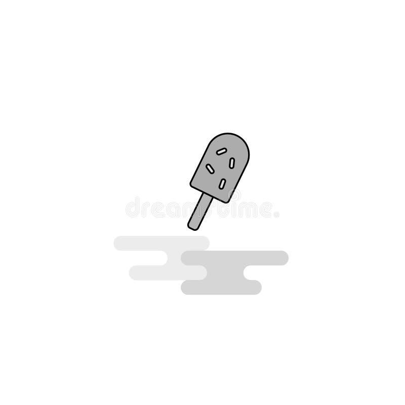 Icône de Web de crème glacée La ligne plate a rempli Gray Icon Vector image stock