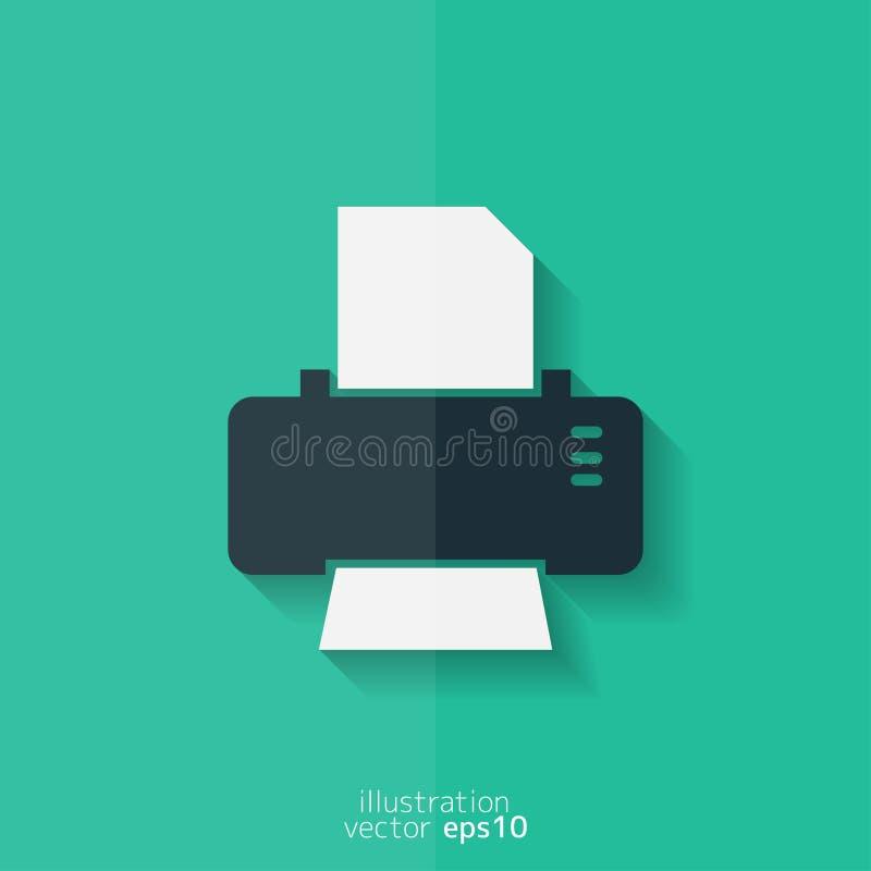 Icône de Web d'imprimante Conception plate illustration libre de droits