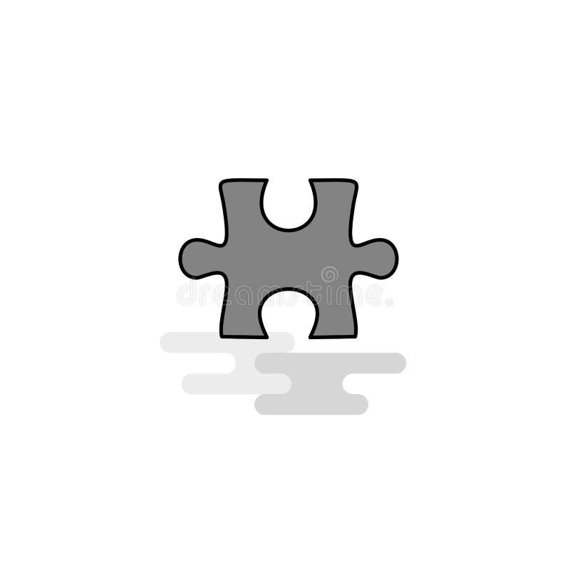 Icône de Web de morceau de puzzle La ligne plate a rempli Gray Icon Vector illustration de vecteur