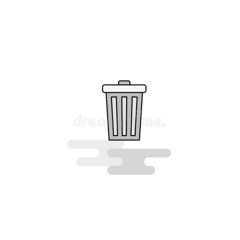 Icône de Web de poubelle La ligne plate a rempli Gray Icon Vector illustration stock