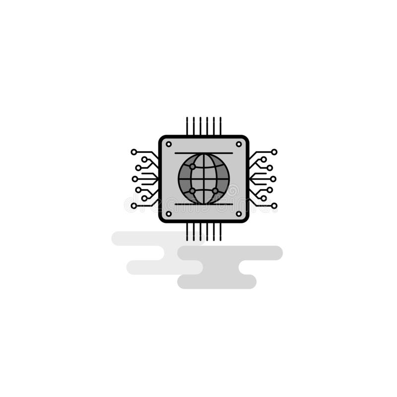 Icône de Web de processeur La ligne plate a rempli Gray Icon Vector illustration stock