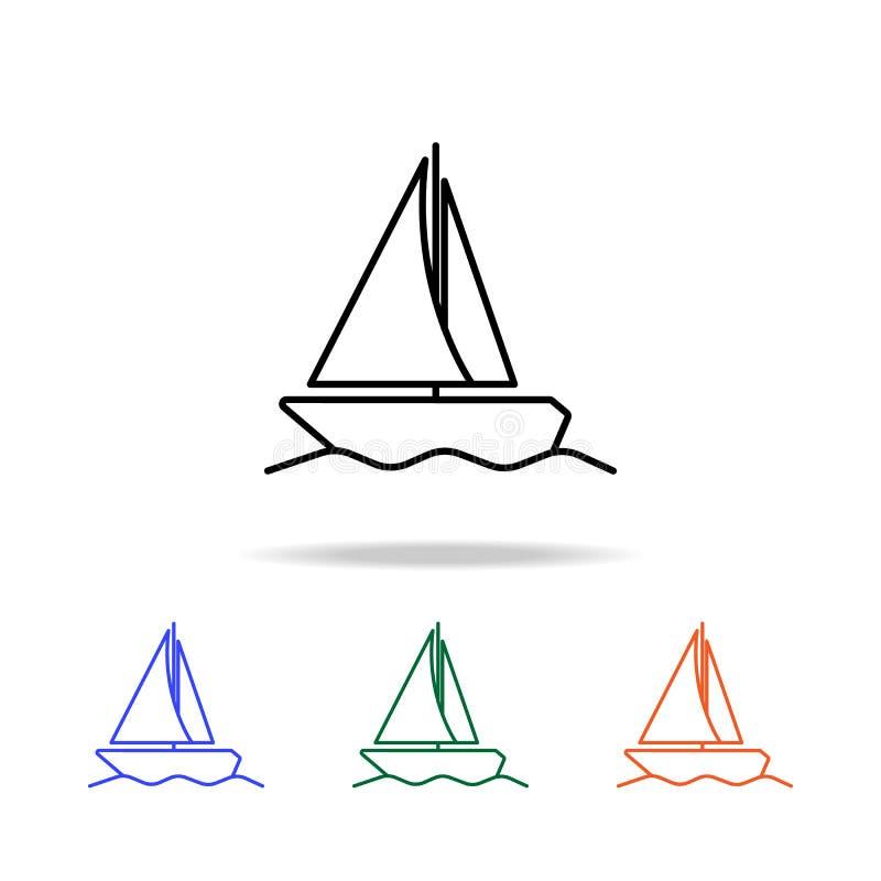Icône de yacht de navigation Éléments d'icône simple de Web dans la couleur multi Icône de la meilleure qualité de conception gra illustration de vecteur