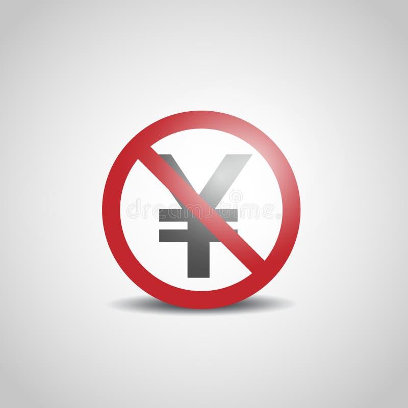 Icône de Yens avec le signe non permis illustration de vecteur