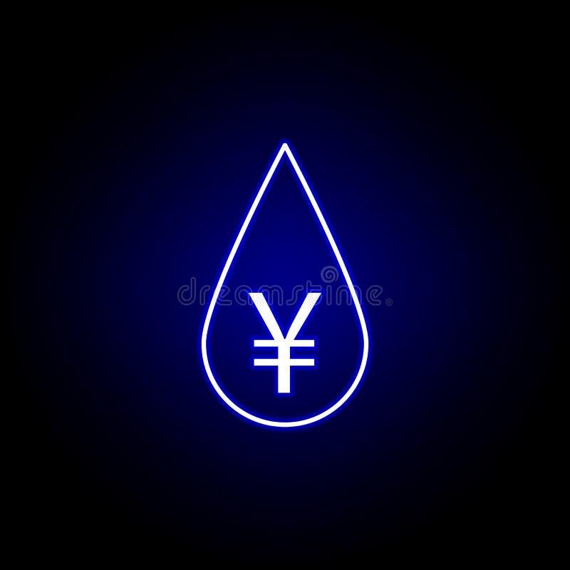 icône de yuans d'huile de baisse dans le style au néon ?l?ment d'illustration de finances Des signes et l'ic?ne de symboles peuve illustration de vecteur