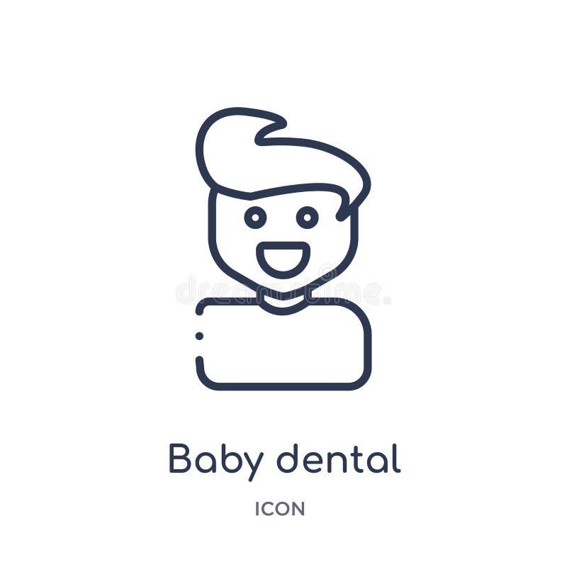 Icône dentaire de bébé linéaire de collection d'ensemble de dentiste Ligne mince icône dentaire de bébé d'isolement sur le fond b illustration libre de droits