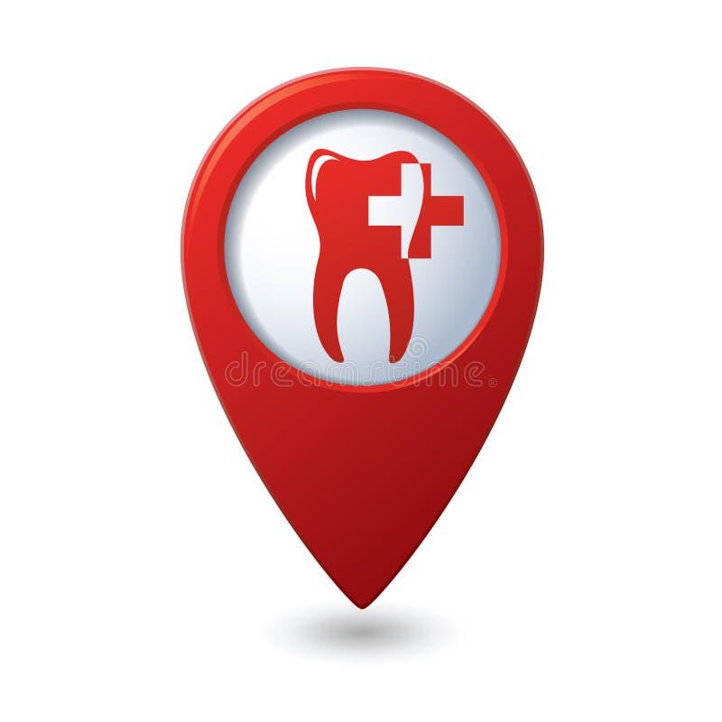 Icône dentaire de clinique sur l'indicateur de carte illustration de vecteur