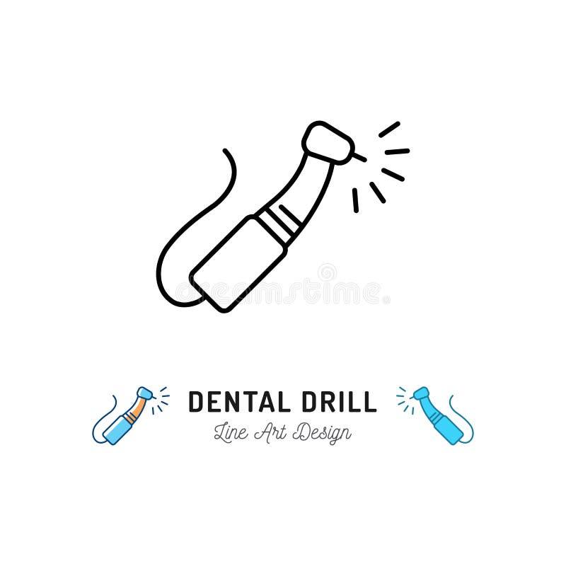 Icône dentaire de foret, instruments dentaires, ligne mince icônes de soins dentaires Illustration de vecteur illustration stock