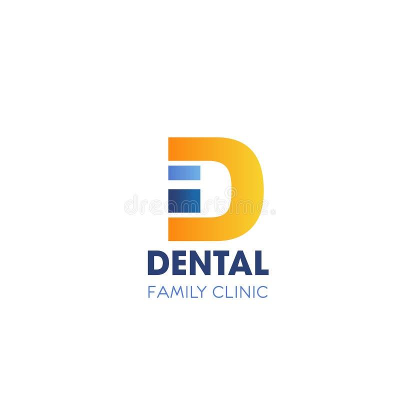 Icône dentaire de la lettre D de vecteur de clinique de famille illustration de vecteur