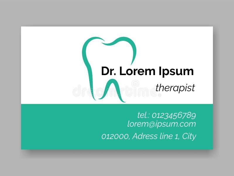 Icône dentaire de logo de dent pour la carte de visite professionnelle de visite de dentiste Calibre de conception de soins denta illustration de vecteur