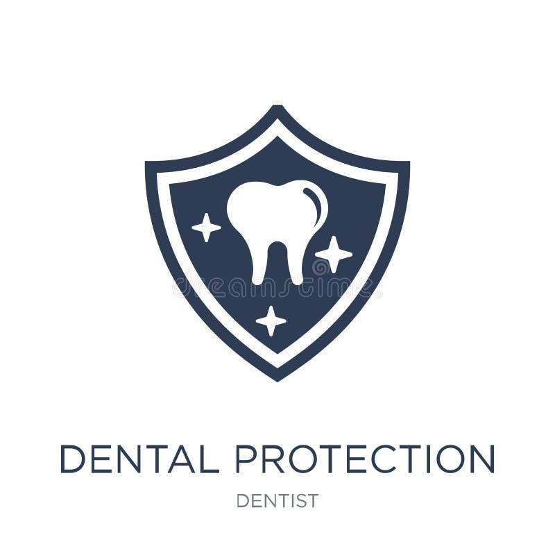 Icône dentaire de protection Ico dentaire de protection de vecteur plat à la mode illustration libre de droits