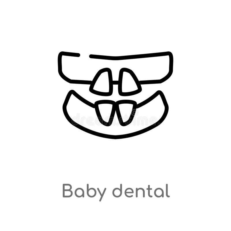 icône dentaire de vecteur de bébé d'ensemble ligne simple noire d'isolement illustration d'élément de concept de dentiste bébé ed illustration libre de droits