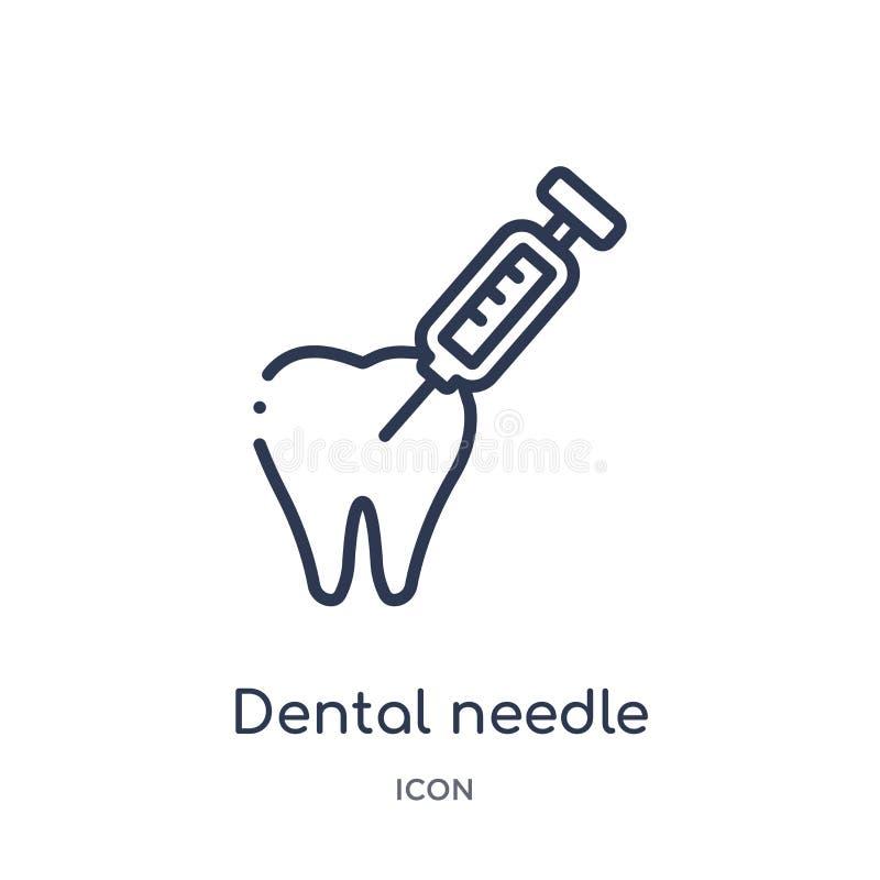 Icône dentaire linéaire d'aiguille de collection d'ensemble de dentiste Ligne mince icône dentaire d'aiguille d'isolement sur le  illustration de vecteur