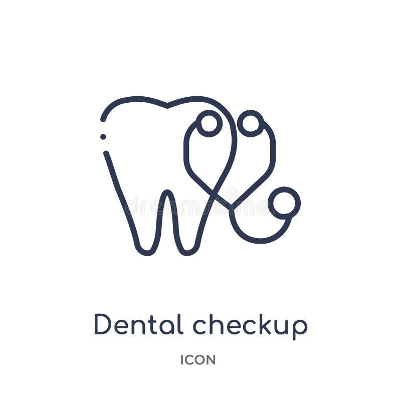 Icône dentaire linéaire de contrôle de collection d'ensemble de dentiste Ligne mince icône dentaire de contrôle d'isolement sur l illustration stock