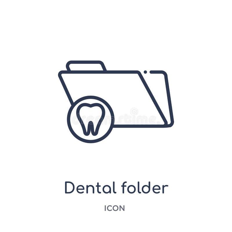 Icône dentaire linéaire de dossier de collection d'ensemble de dentiste Ligne mince icône dentaire de dossier d'isolement sur le  illustration stock