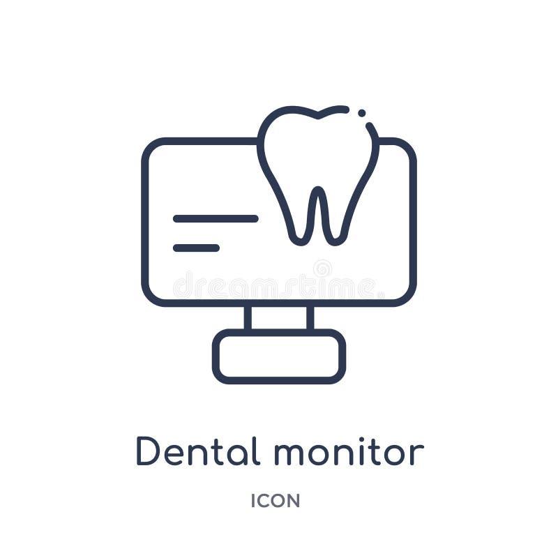Icône dentaire linéaire de moniteur de collection d'ensemble de dentiste Ligne mince icône dentaire de moniteur d'isolement sur l illustration de vecteur