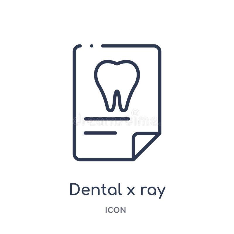 Icône dentaire linéaire de rayon de x de collection d'ensemble de dentiste Ligne mince icône dentaire de rayon de x d'isolement s illustration stock