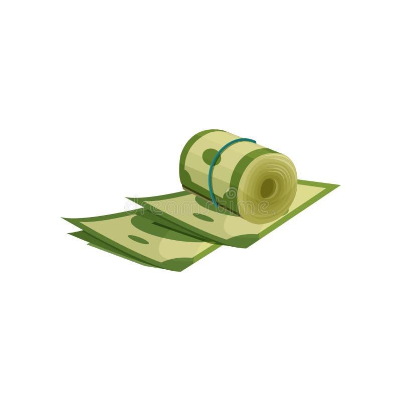 Icône des dollars américains verts Rouleau d'argent enveloppé avec l'élastique bleu Thème financier Concept de richesse Vecteur p illustration stock