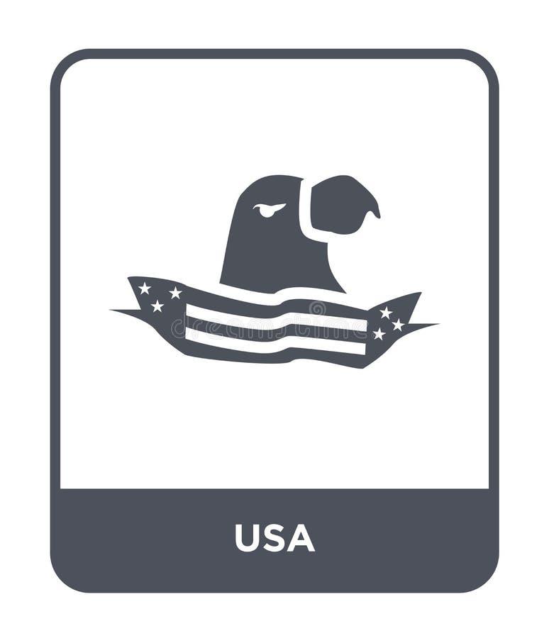 icône des Etats-Unis dans le style à la mode de conception icône des Etats-Unis d'isolement sur le fond blanc symbole plat simple illustration stock