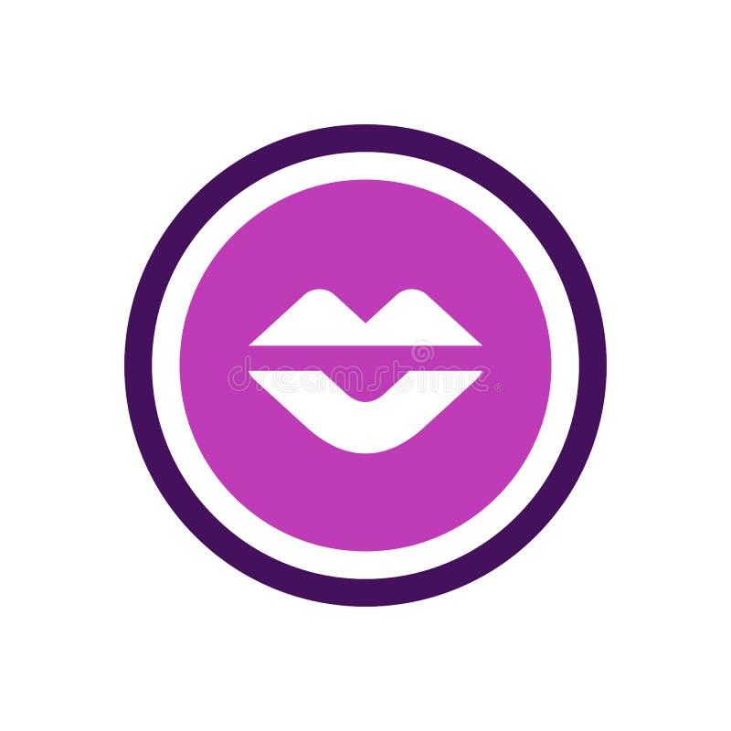 Icône des lèvres de femme, logo de forme de cercle violet, illustration vectorielle illustration stock