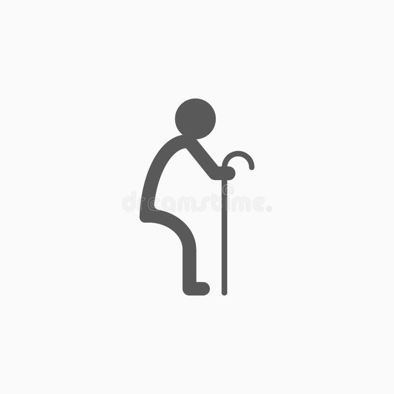 Icône des personnes âgées, sénile, patriarcal, démodée illustration de vecteur