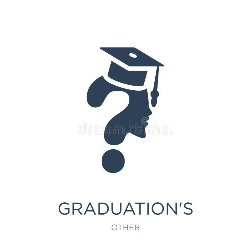 icône des questions de l'obtention du diplôme dans le style à la mode de conception icône des questions de l'obtention du diplôme illustration de vecteur