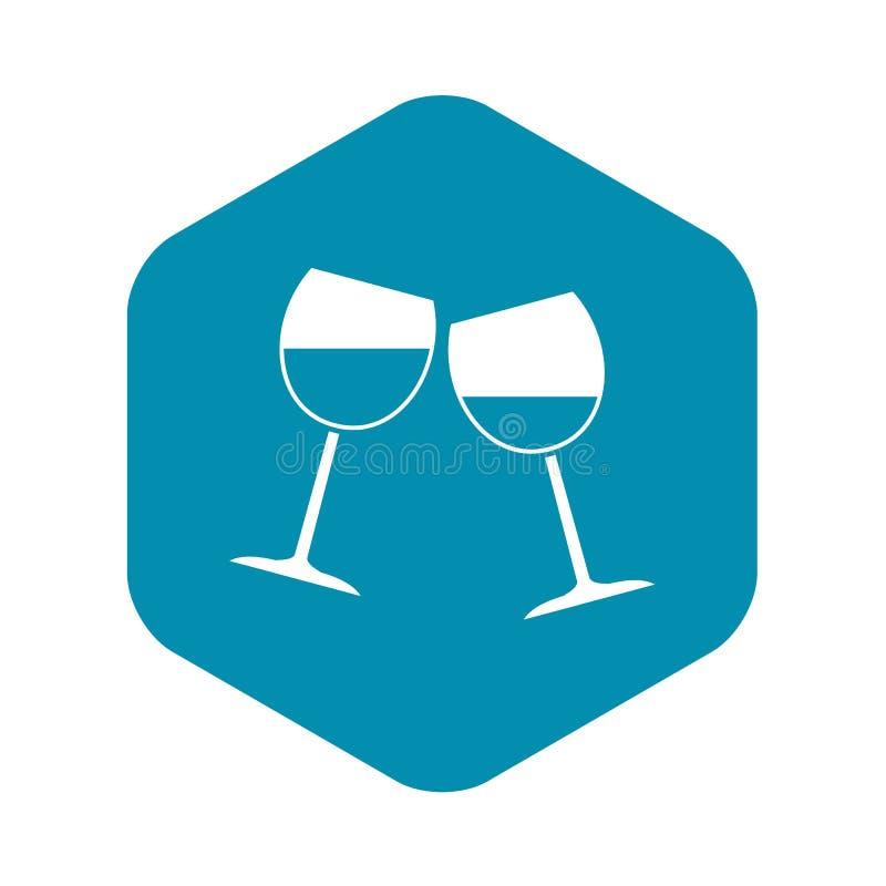 Icône deux en verre de vin, style simple illustration de vecteur
