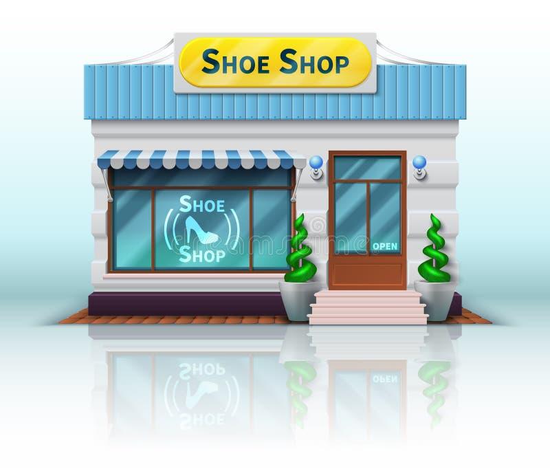 Icône différente de boutique et de magasin Inclut la boutique de chaussure réaliste sur le fond blanc Illustration de vecteur illustration de vecteur