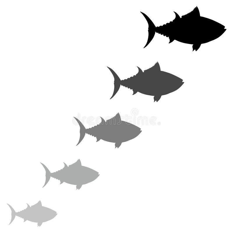 Icône différente de taille de beaucoup de poissons, signe, logo illustration stock