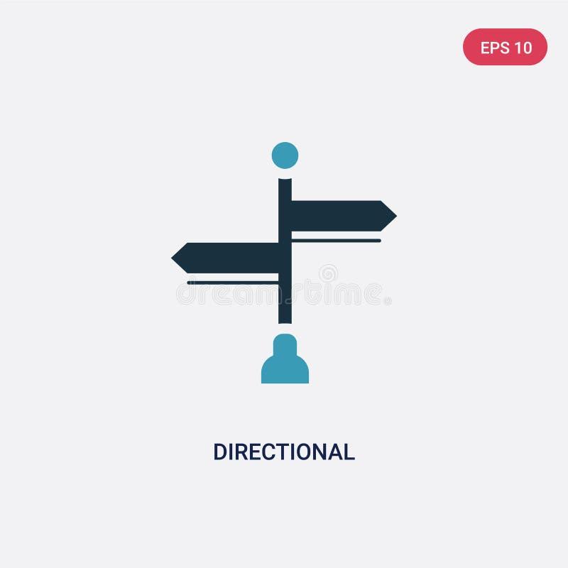 Icône directionnelle de vecteur de deux couleurs de concept de signes le symbole directionnel bleu d'isolement de signe de vecteu illustration libre de droits
