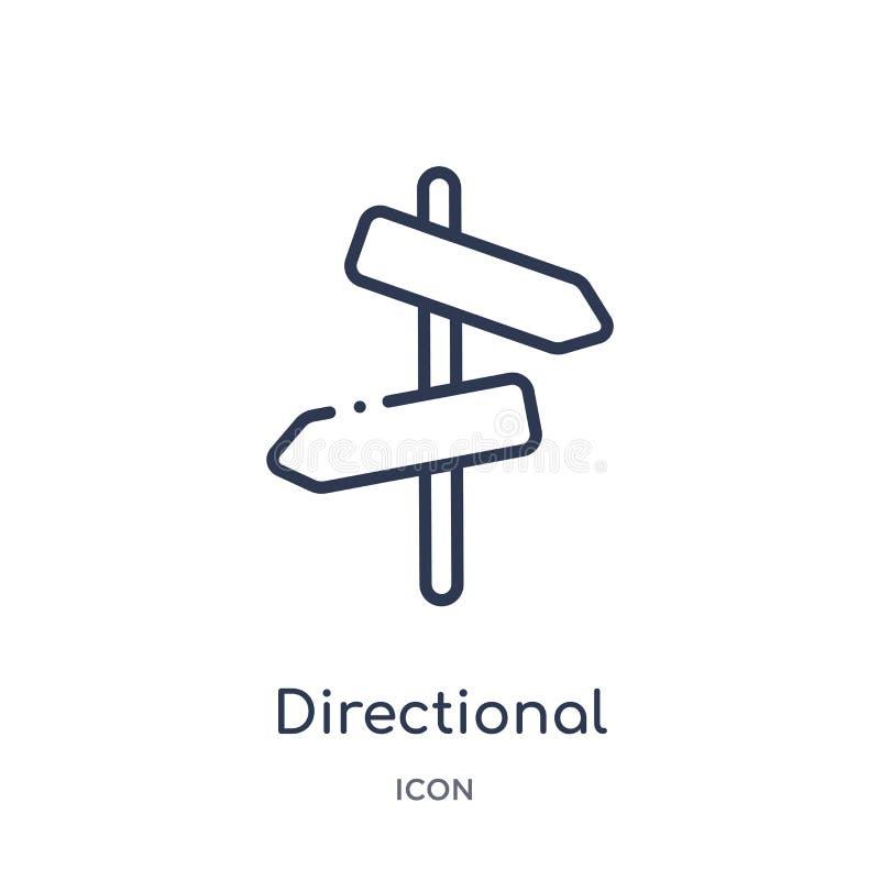 Icône directionnelle linéaire de collection d'ensemble de désert Ligne mince vecteur directionnel d'isolement sur le fond blanc d illustration stock