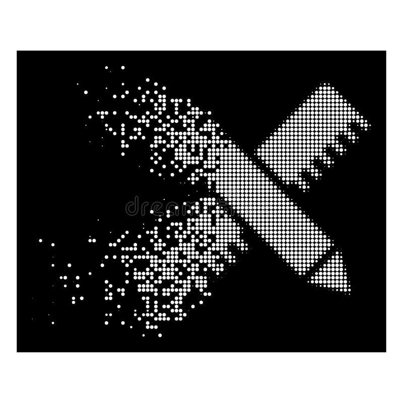 Icône dispersée lumineuse d'outils de conception de Dot Halftone Ruler And Pencil illustration libre de droits