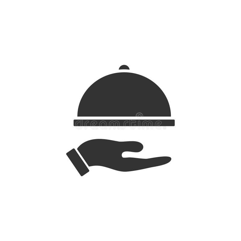 Icône disponible de cloche de restaurant à plat illustration de vecteur