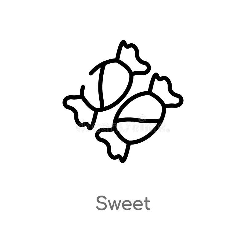 icône douce de vecteur d'ensemble ligne simple noire d'isolement illustration d'élément de fête d'anniversaire et de concept de é illustration stock