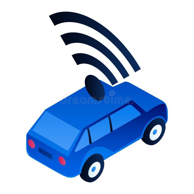 Icône driverless moderne de voiture, style isométrique illustration de vecteur