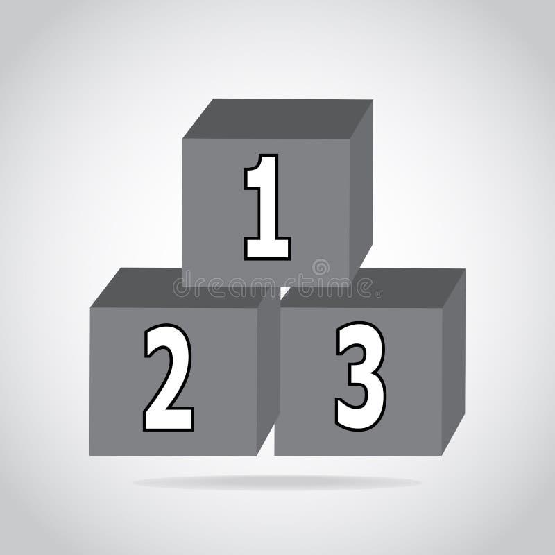 icône du bloc 123 constitutif, signe d'alphabet de cubes illustration stock