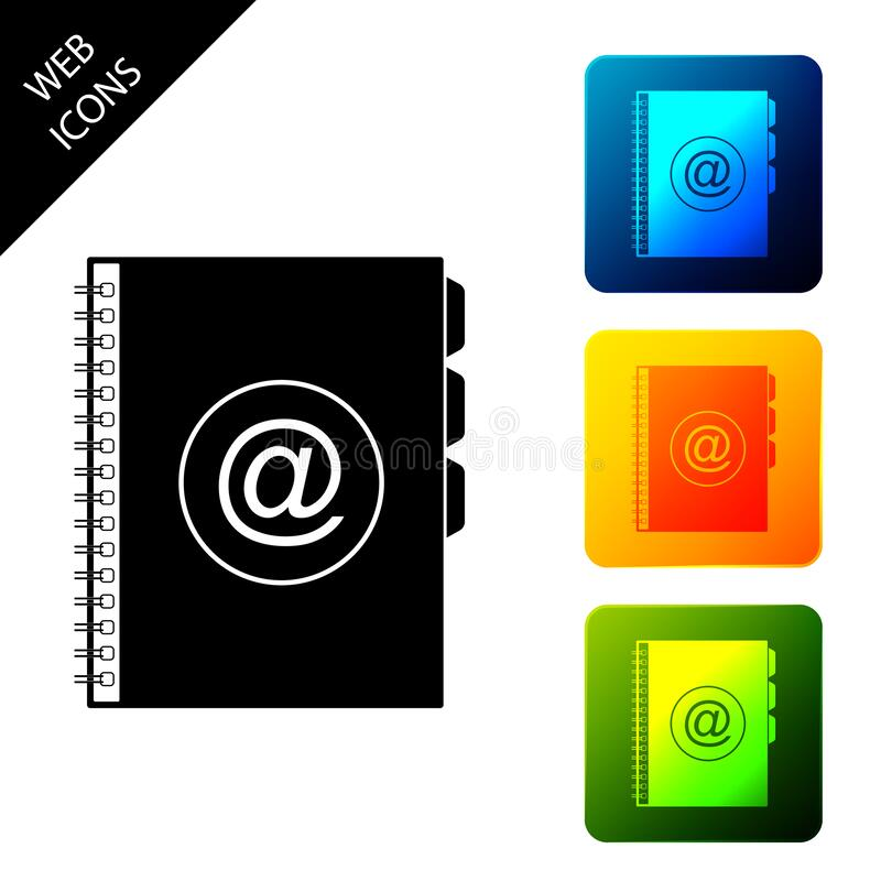Icône du carnet d'adresses isolée en arrière-plan blanc Ordinateur portable, adresse, contact, annuaire, téléphone, icône d'annua illustration stock