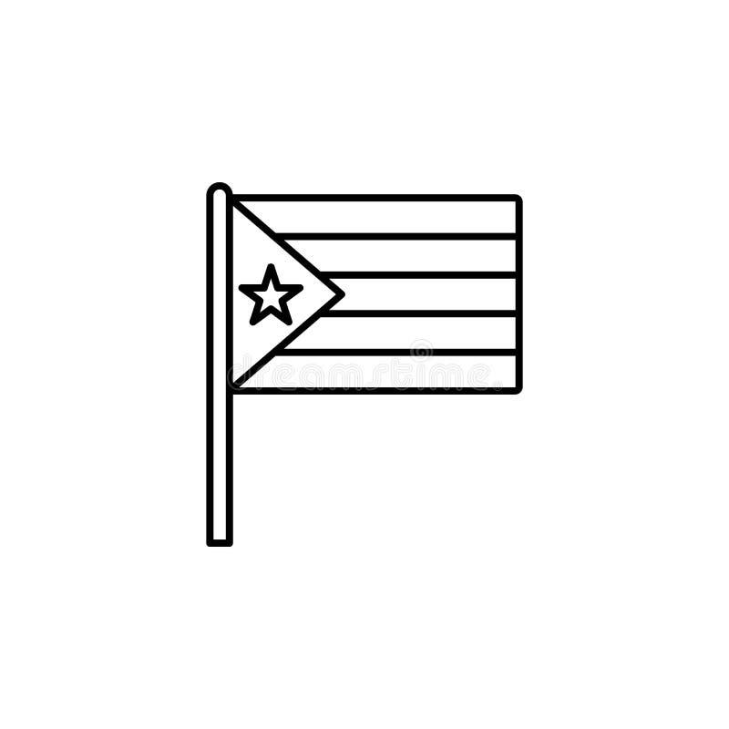 Icône du Cuba Élément d'icône de drapeau pour les apps mobiles de concept et de Web La ligne mince icône du Cuba peut être employ illustration de vecteur