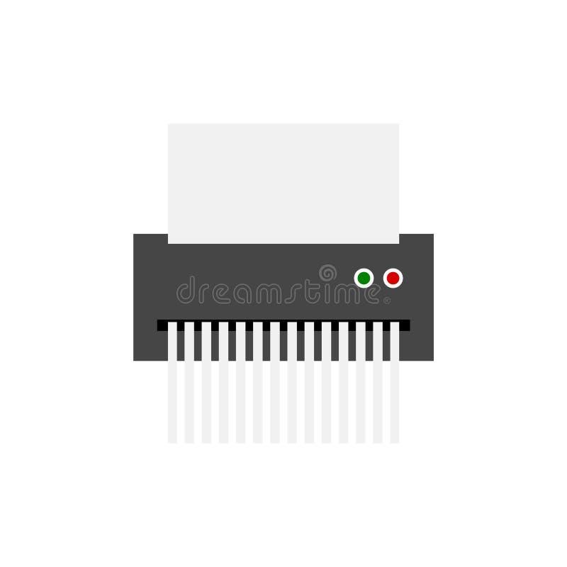 Icône du destructeur de papier, style plat illustration de vecteur