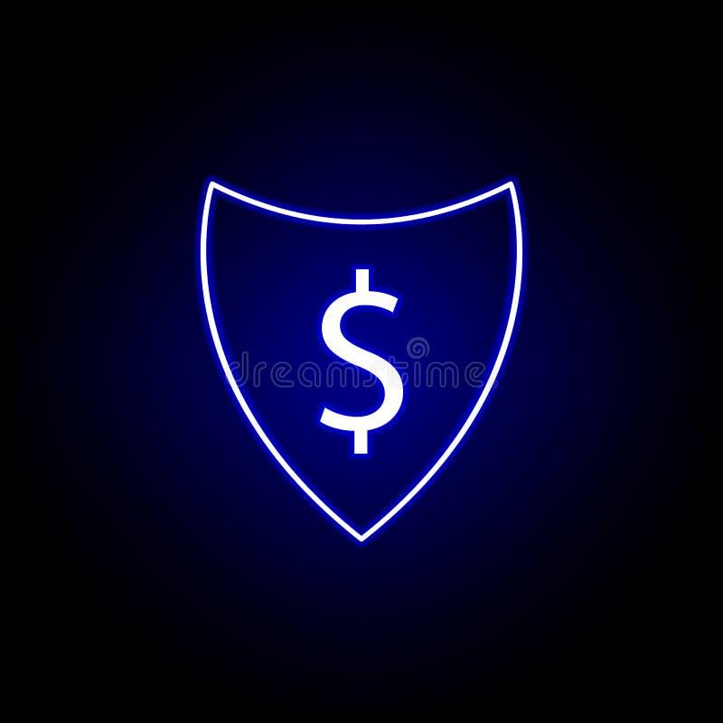 icône du dollar de bouclier dans le style au néon ?l?ment d'illustration de finances Des signes et l'ic?ne de symboles peuvent ?t illustration libre de droits