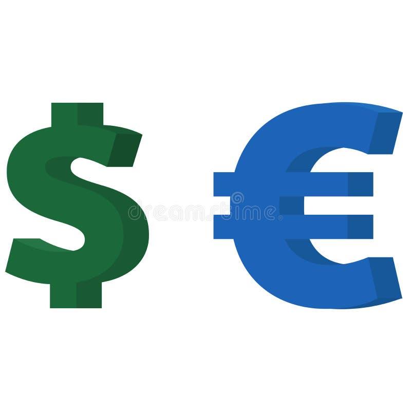 Icône du dollar et d'euro illustration libre de droits