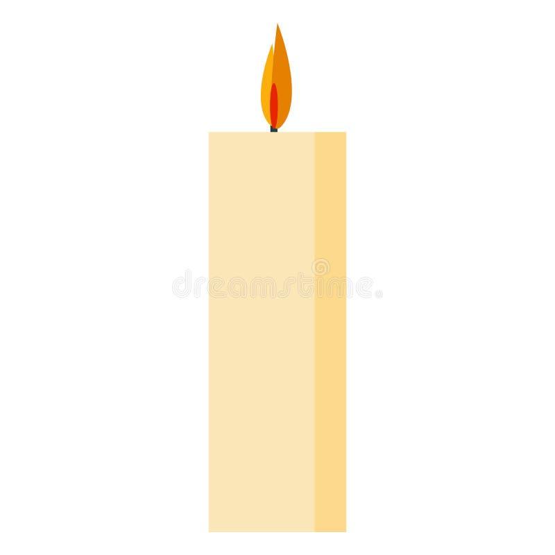 Icône du feu de bougie, style plat illustration de vecteur