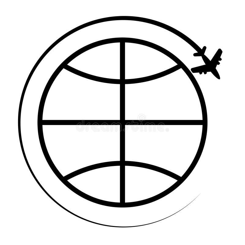 Icône du fond blanc de globe de la terre illustration libre de droits