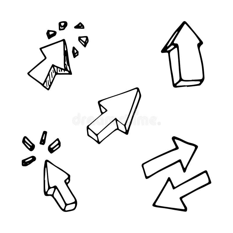 Icône du griffonnage 3D réglée par flèches tirées par la main Croquis noir tiré par la main Symbole de bande dessinée de signe Él illustration libre de droits